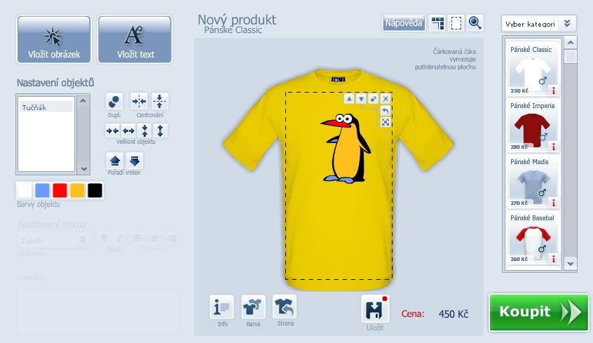 Vytvoř si vlastní tričko online. Editor pro potisk trička de830e1d30